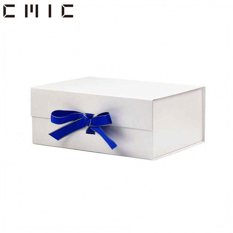 C MIC Custom Logo Black Magnetic Foldable High End Custom Cardboard Packaging White Shine Cardboard Shoe Gift Box