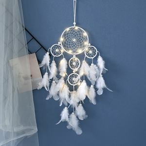 European and American Style Fashion Wall Hanging Decoration Five Ring Dream Catchers Handmade Feather Dream Catcher