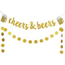 EasternHope Party Banner Gold Glittery Cheers and Beers Banner and Gold Glittery Circle Dots Garland