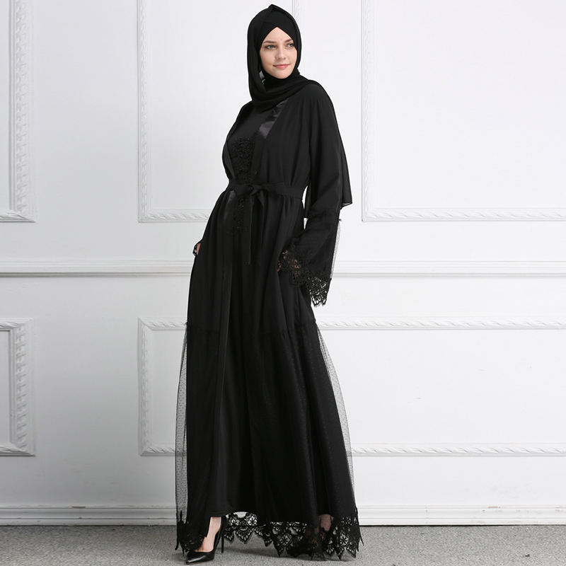 Hot Soft crepe abaya Muslim woman fashion black lace abaya exquisite Islamic clothing with Stitch Flower loose abaya