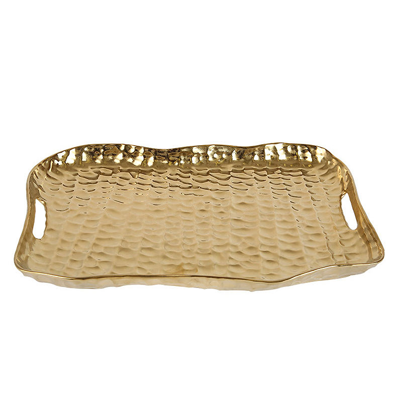Arabic Hot Selling Home Luxury Gold Ceramic Tray Centerpiece Coffee Table Decorative Serving Tray