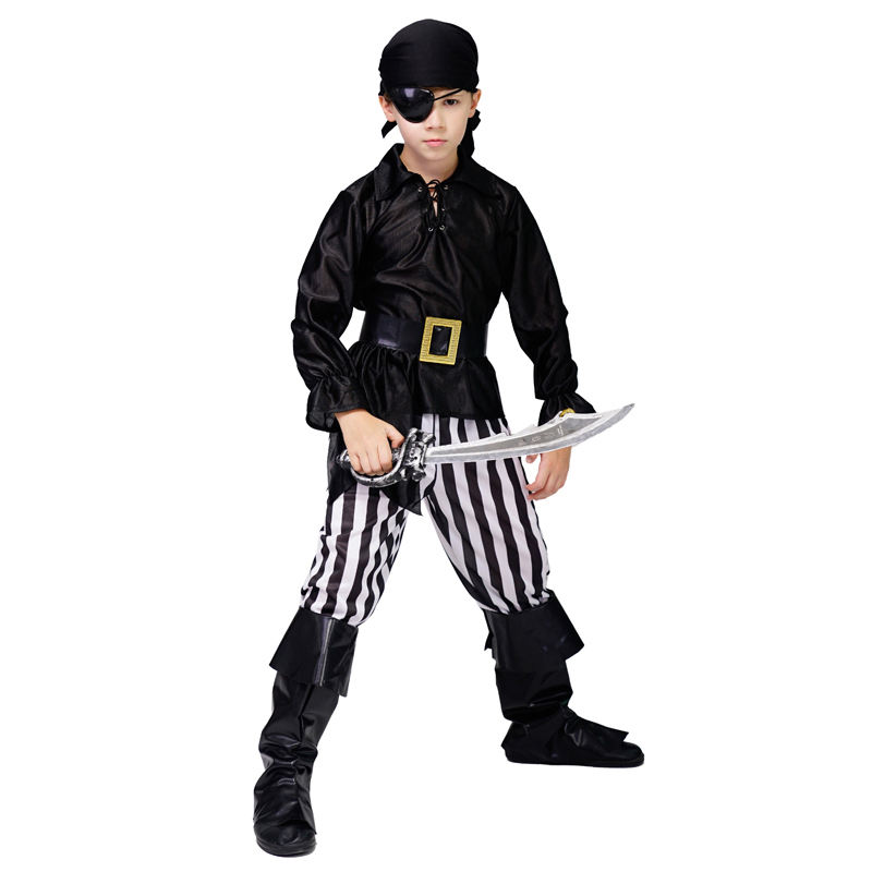 Hot Sales Black Cool Pirate Costume Halloween Party Cos Dress Carnival Role Play Boy's Pirate Costume
