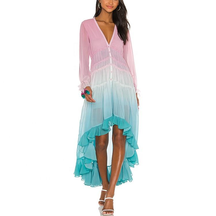 Customized Maxi Dresses Women Lady Elegan Wholesale Clothing Summer Chiffon Dress