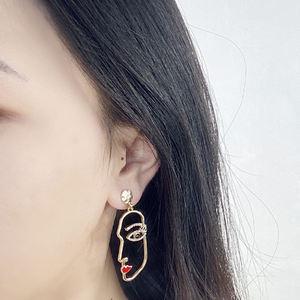 18K gold plated statement face gemstones enamel drop earrings for girls women