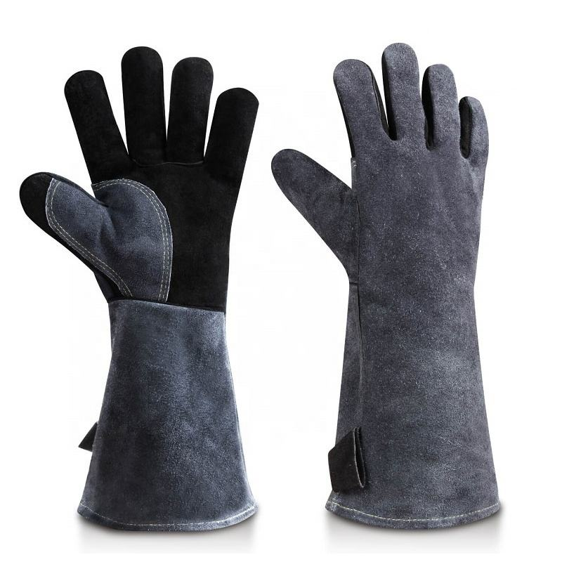 Ozero Kitchen Cooking Oven Barbecue Gloves Heat Resistant Leather BBQ Welding Gloves CE .