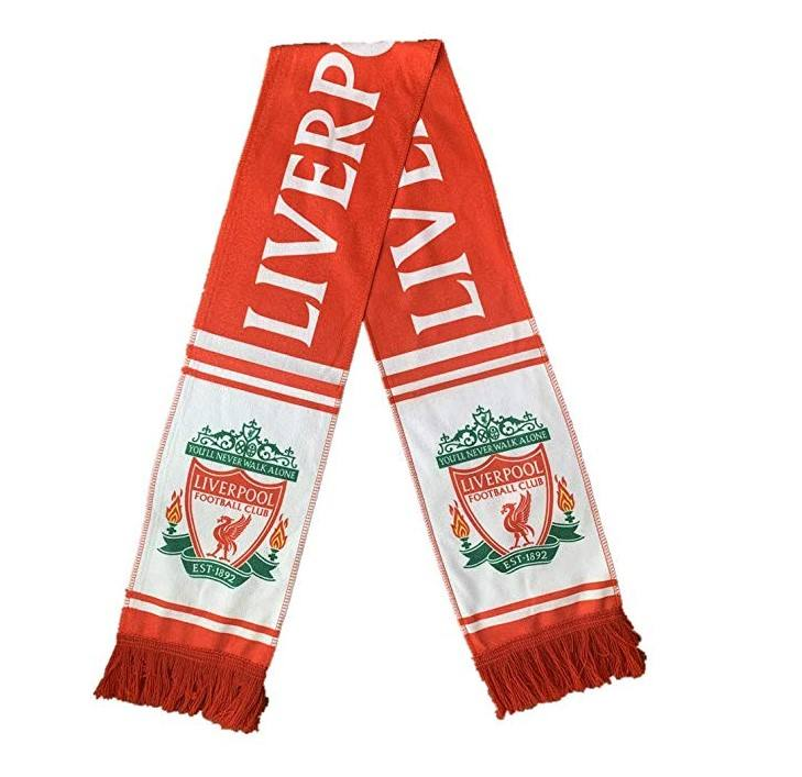 Custom Made Knitted Polyester Printed Logo England Football Club Decoration Soccer Supporter Scarves With Tassel
