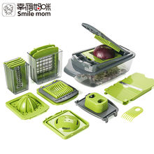 Smile mom Multifunction Kitchen Helper Nice Dicer - Carrot Grater Egg Slicer - Vegetable Cutter - Onion Chopper