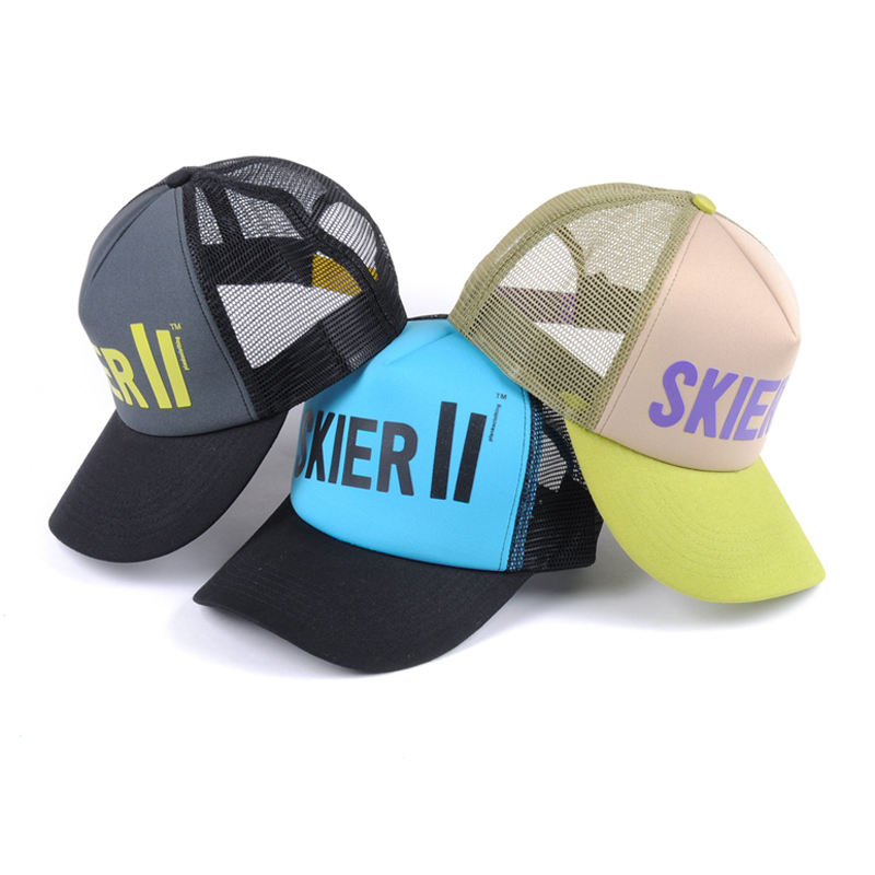 Colorful high quality 5 panel screen printing you own logo mesh trucker cap wholesale