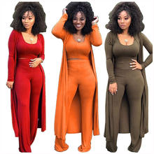 Hot Woman Clothes 2020 Trending Ribbed Crop Top 3 Piece Set Plus Size Jumpsuit Fall Winter Outfit Women Clothing