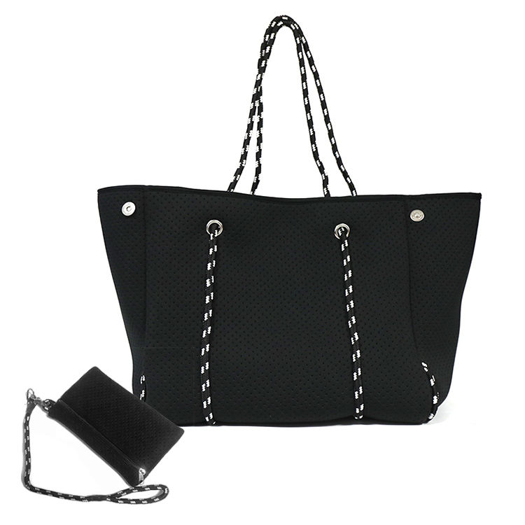 2020 2-piece Neoprene Handbag Tote Shopping Bag Black Hollow Out Perforated Woman Neoprene Beach Bag Set With Small Wallet