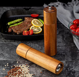 CHANGZE Customized Wooden Salt And Pepper Grinder Set With Rose Gold Spoon