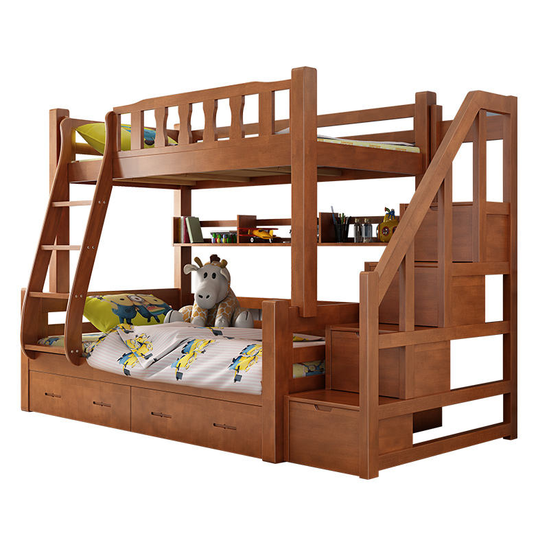 Multifunction household bedroom detachable kids wooden bunk bed for children