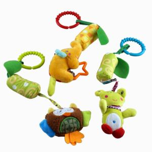 Mini plush toy newborn baby stroller toys lovely animals baby bed hanging toy