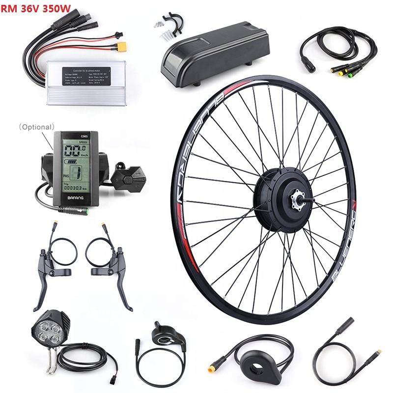 Bafang 36V 350W Geared Hub Motor Rear Wheel Drive Ebike Motor Conversion Kit for DC Cassette Freewheel with LCD Display