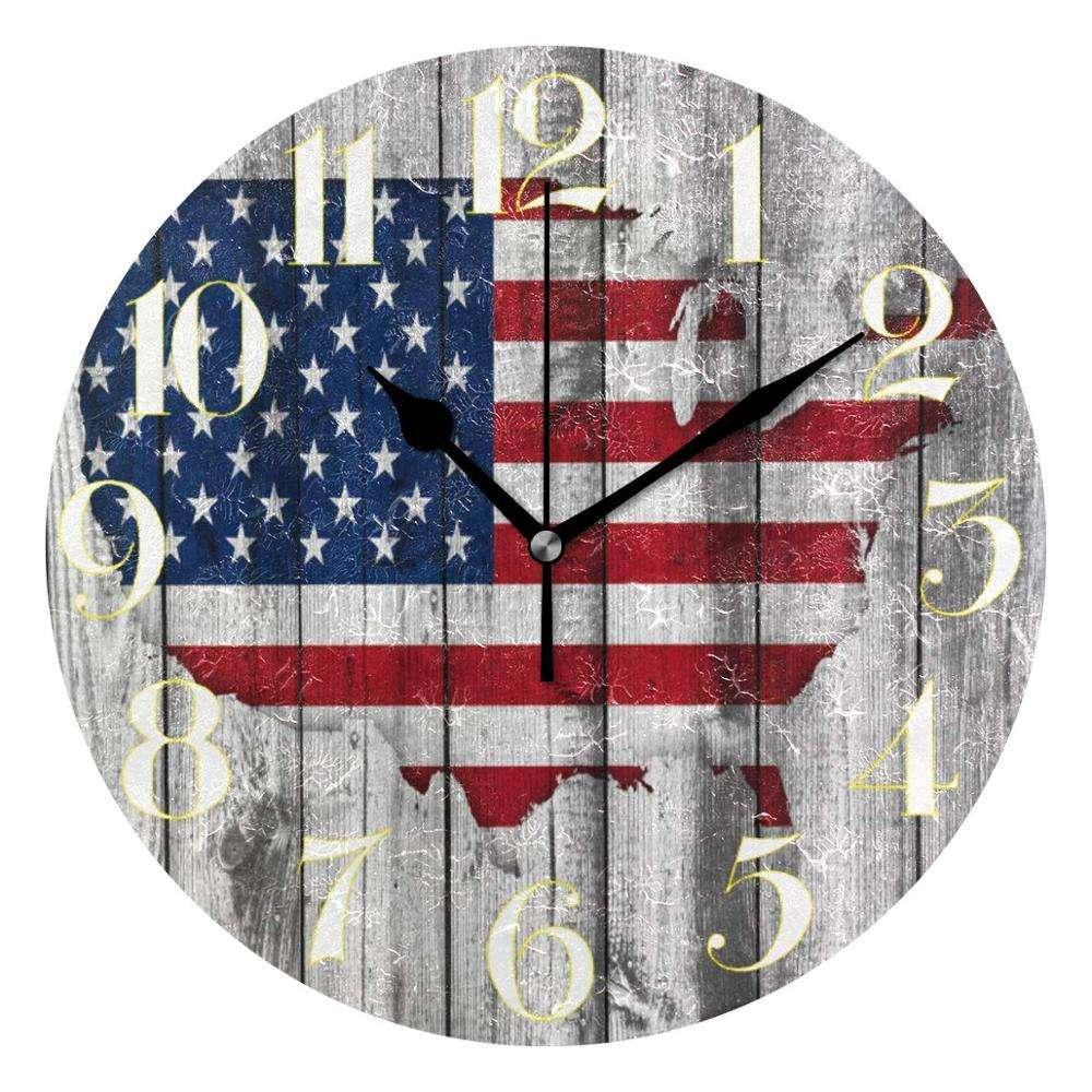 "American America USA Stars Flag Round 8/"" Glass Wall Clock 6 DIAL STYLES"