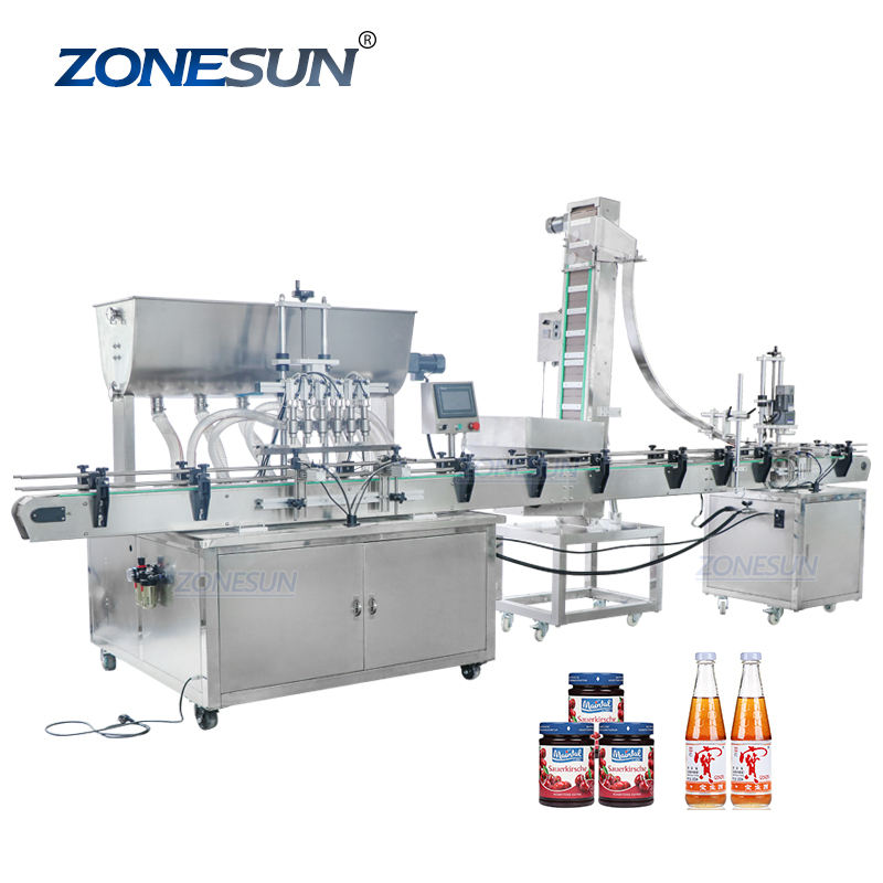 ZONESUN ZS-FAL180A3 Hand Sanitizer Cosmetic Oil Juice Automatic Small Bottle Jar Filling Capping Machine