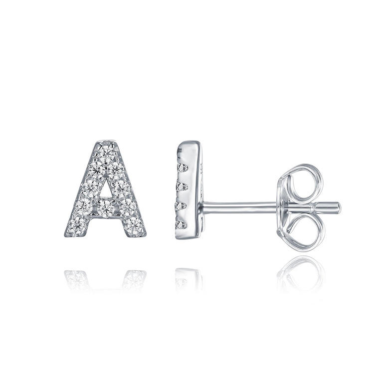 A-Z Alphabet Earrings 925 Sterling Silver CZ Initial Letter Stud Earrings