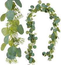 Real Touch silver green Silk artificial hanging eucalyptus garland with Baby's breath for decoration