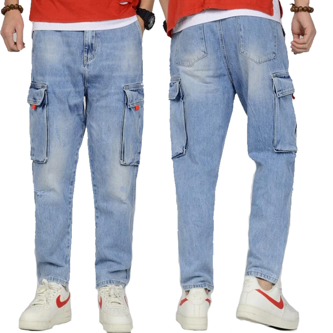 Wholesale Fashion Men's Stretch Light Blue Washed Jeans big Pocket Loose Baggy Hip Hop Cargo Jeans Men Tapered Pants