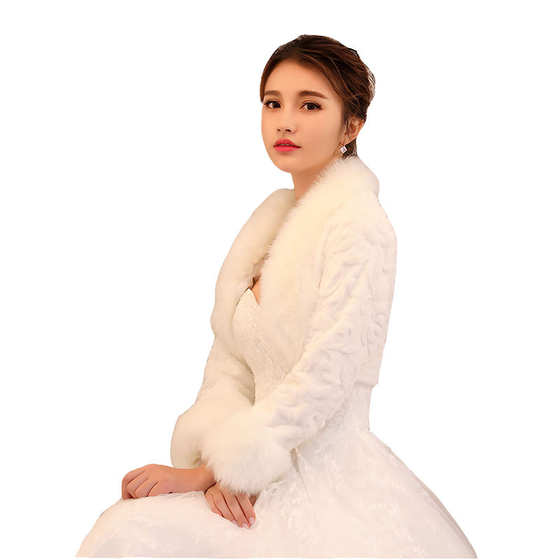 Hot wholesale winter bride shawl short rose pattern plush collar faux fur wedding accessories