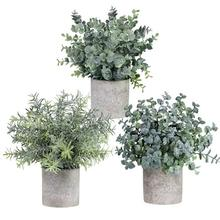 Hot sale Set of 3 Mini Potted  pinrui craft Artificial Eucalyptus Plants Plastic Faux Green Rosemary Plant