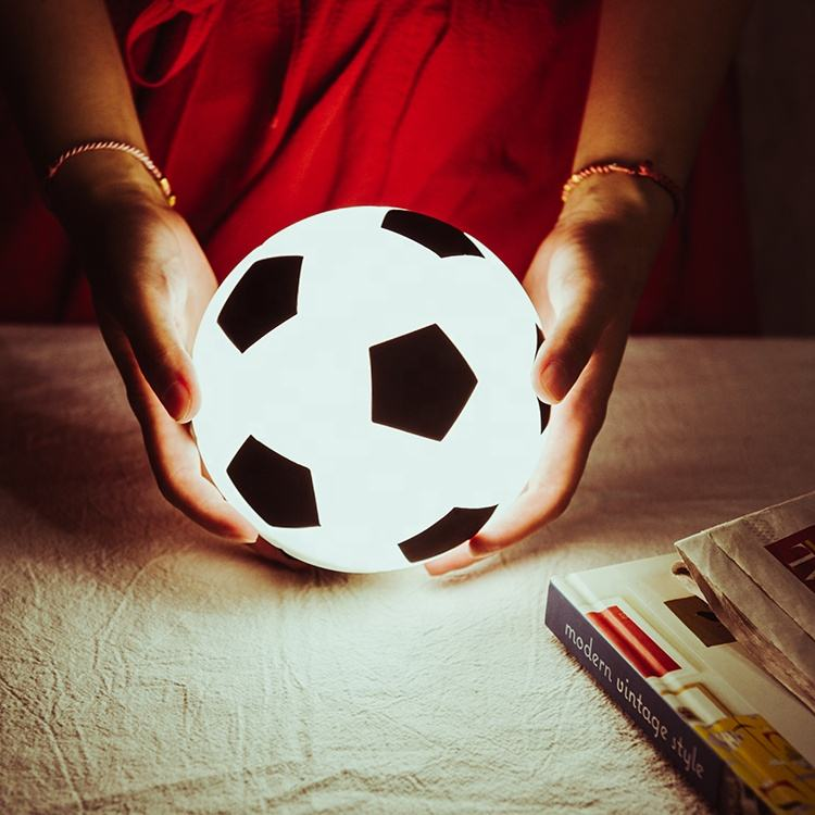 Creative soft silicone football night light usb rechargeable led lighting lamp for decoration gifts