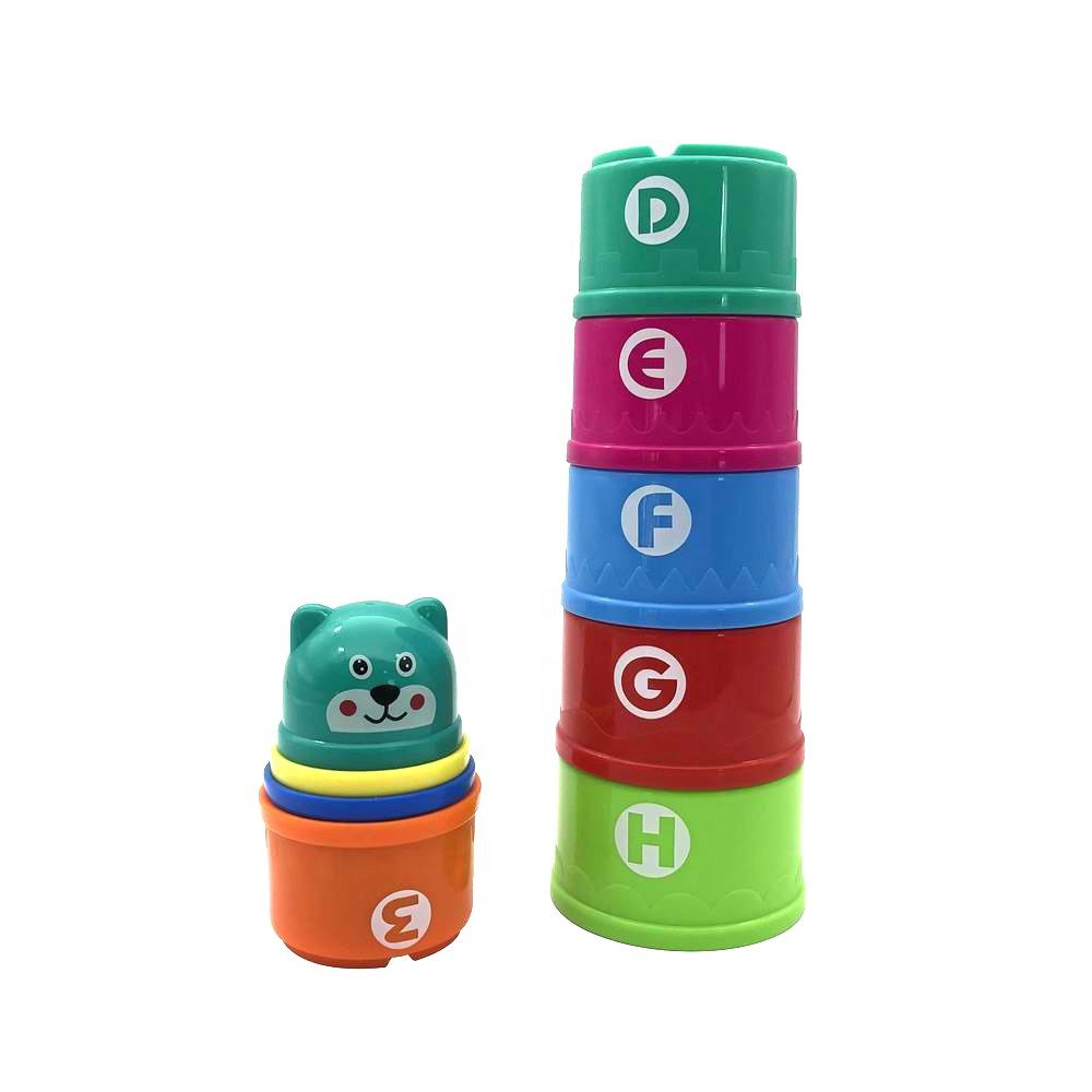 PP plastic 9 piece round shape building tower number and letters multicolour nesting stacking cups baby set toys for bath time