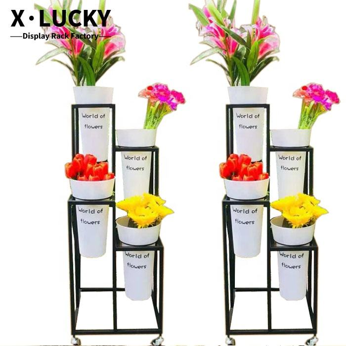 High quality flower pot holder plant shelf rack stand for florist garden display stand