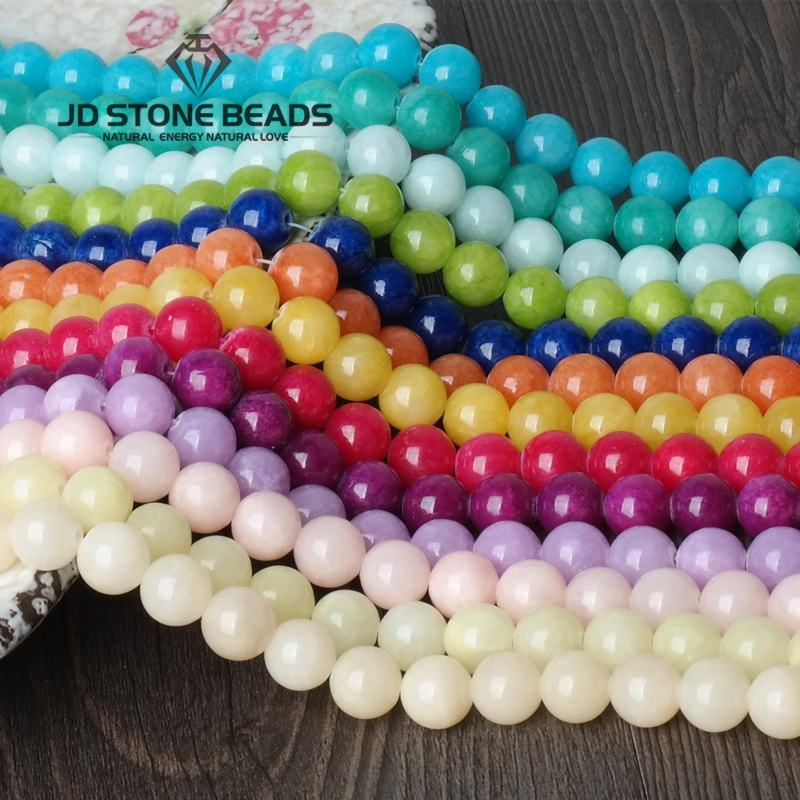 Colorful Smooth Round Cloud Jade 4-14mm Pick Size GEM Stone Beads Accessories For Fine Jewelry Making Red/Green/Blue/Pink