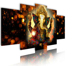 Custom stretched Canvas Art Prints indian God Nose Elephant artwork 5 Panels  Wall Art Picture Oil Paintings Canvas Painting