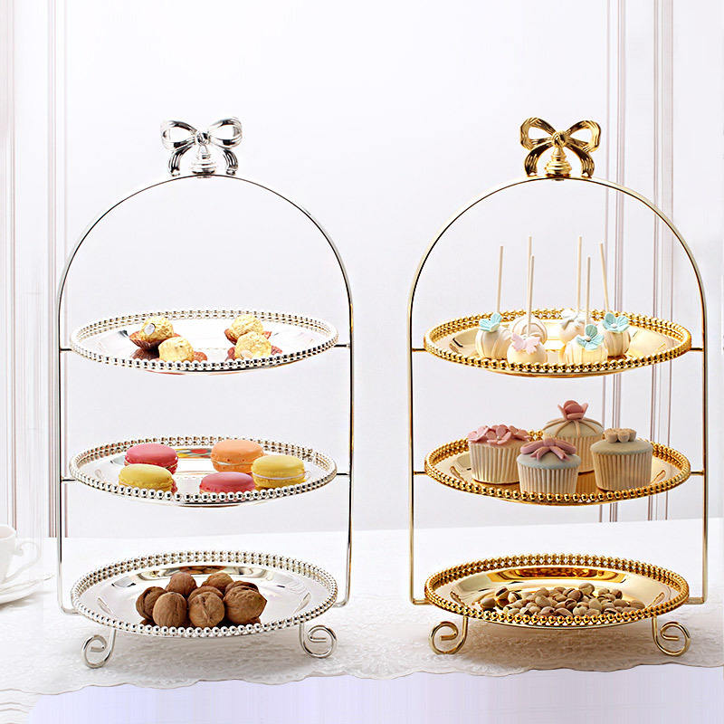 New Arrival European Style Wedding Birthday Party Round Gold Silver Galvanized Metal Iron 3 Tier Cake Stand