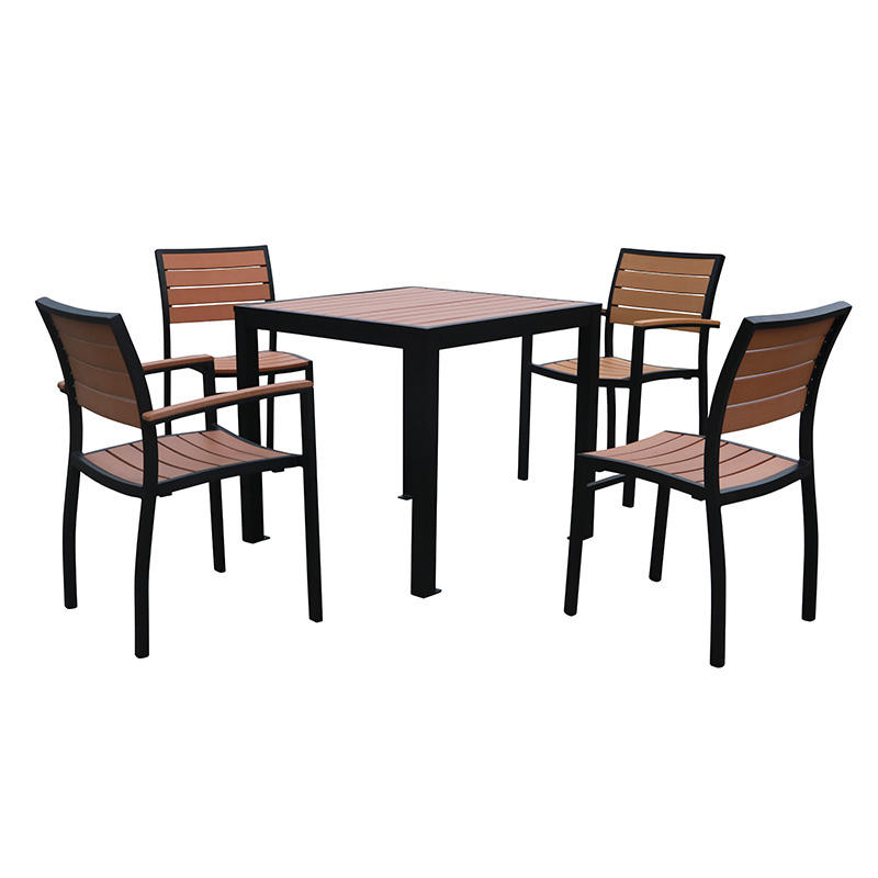 outdoor furniture high quality dining set plastic wood aluminum table and chair outdoor