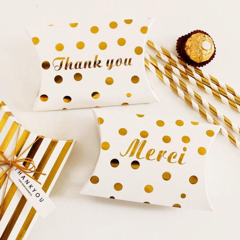 Guess Gold-embossed candy box new craft paper pillow shape wedding favors gift box party bag eco-friendly Kraft packaging