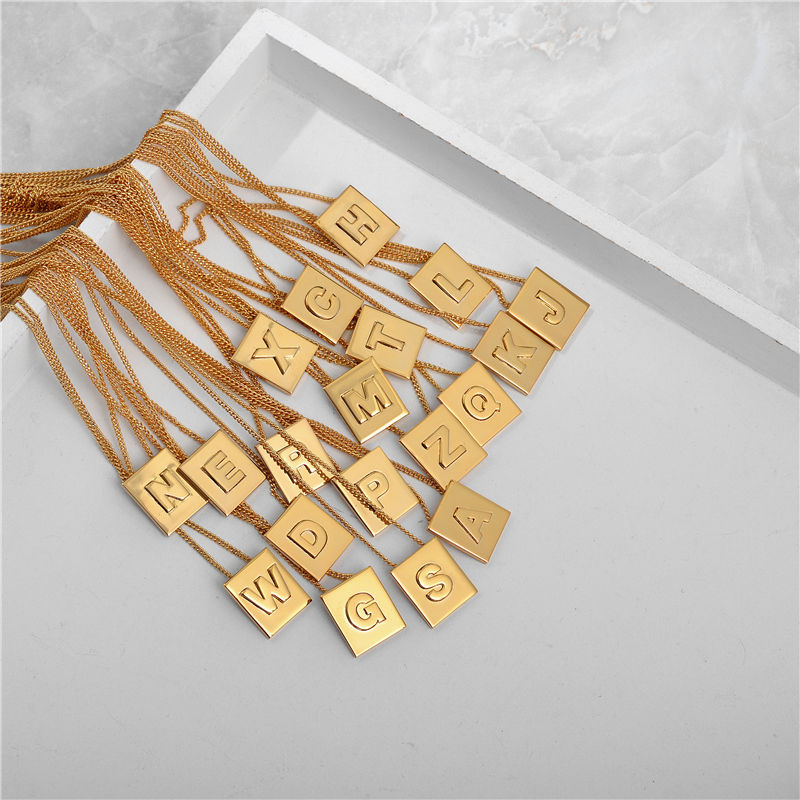 Eico Custom Jewelry Gold Cube Letter Necklace Square Pendant Stainless Steel Personalized 18K Initial Necklace