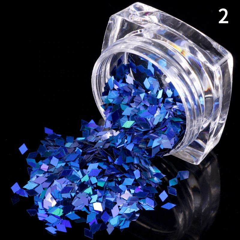 Fashion Nail Art Decoration 12 Jar/Set Rhombus Glitter Wholesale Beautiful Finger Jewelry Set Nail Supplies Nail Art Decoration