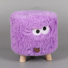 Custom wholesale cute modern small round standing knitted home decor color children's beauty ottoman pouf stool