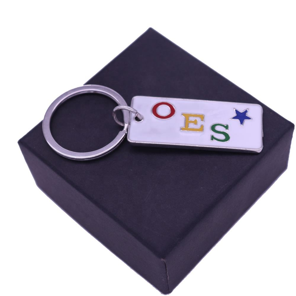 Enamel alphabet jewelry greek letter OES tags keychain Order Of Eastern Star charms pendant keyrings