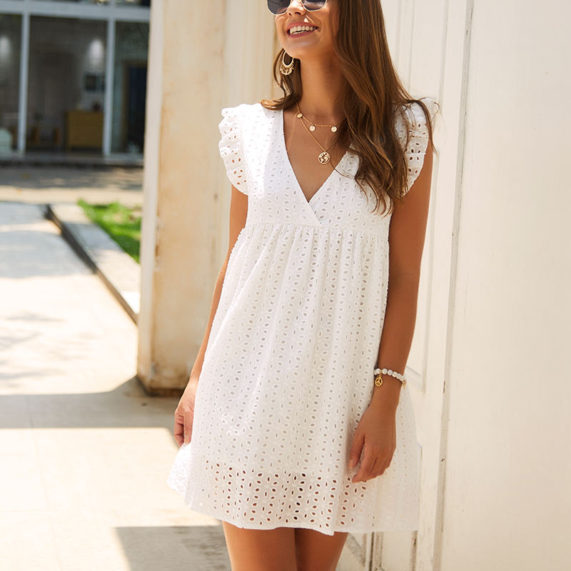 V-neck ruffles sleeve high waist A-line short skrit solid hollow lace embroidery girl dress