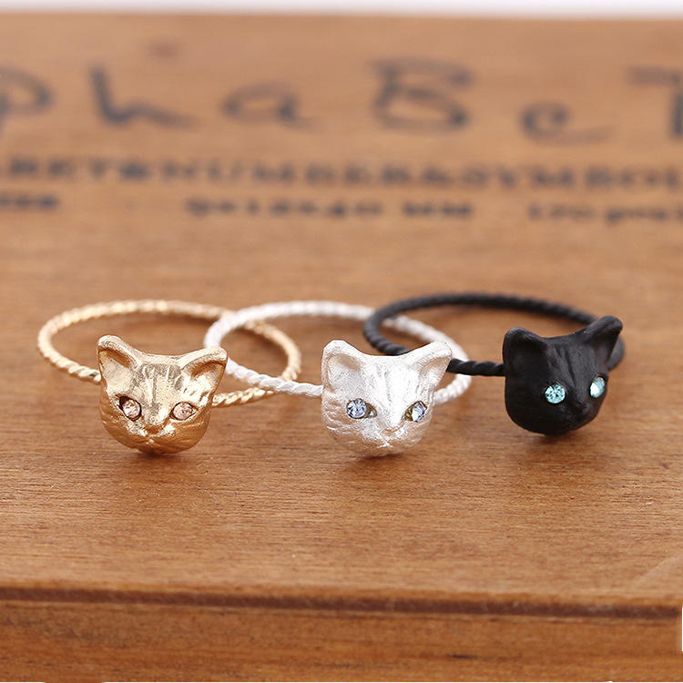 2019 Korean version exquisite cute realistic small cat animal ring FOR WOMEN