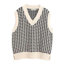 9 colorway side split oversized knitted sleeveless sweater women casual vest
