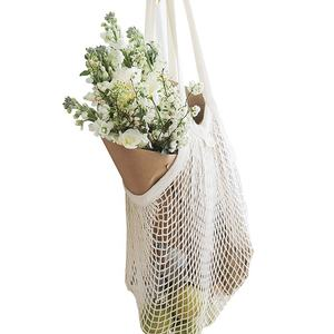 Eco Friendly Reusable Large Organic Cotton Net Mesh Market Grocery Shopping Bag Set For Saver Bags,Food Storage