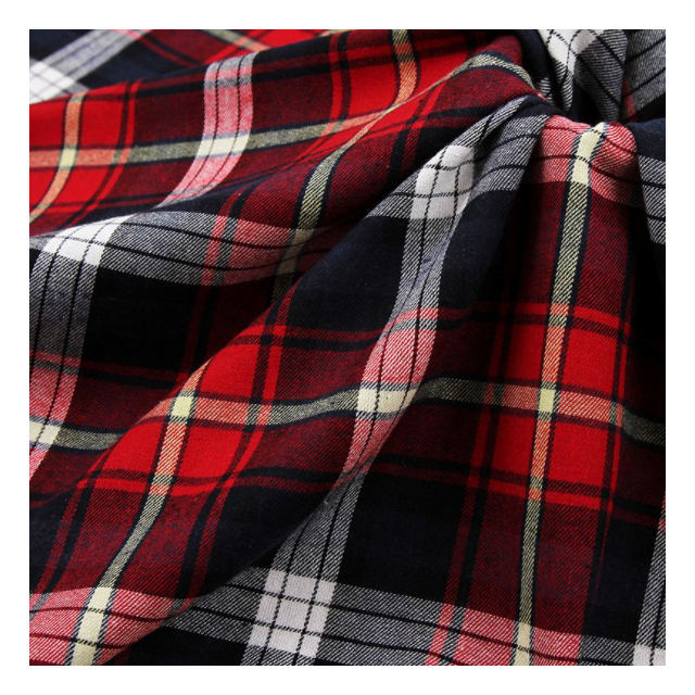 China stock cotton flannel yarn dyed plaid check shirt fabrics with low price and high quality