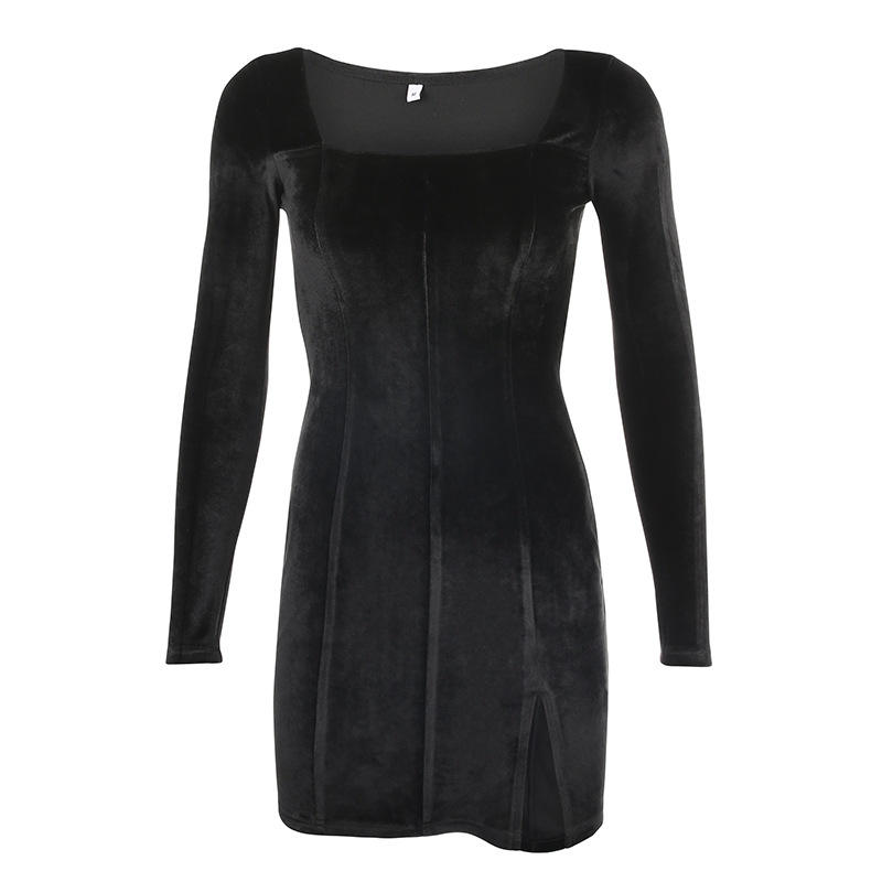 velvet women dress Winter 2020 elegent split Femme Dresses party long sleeve gothic clothes