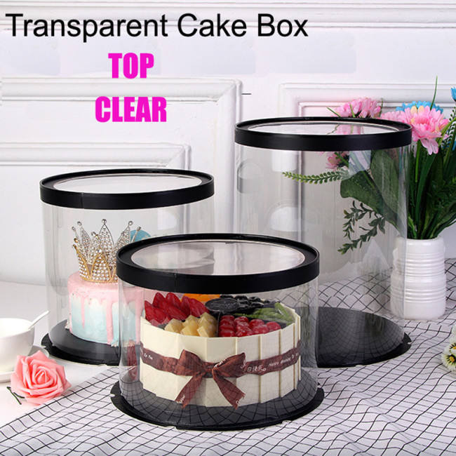 Bulk wholesale recyclable plastic clear cake box round