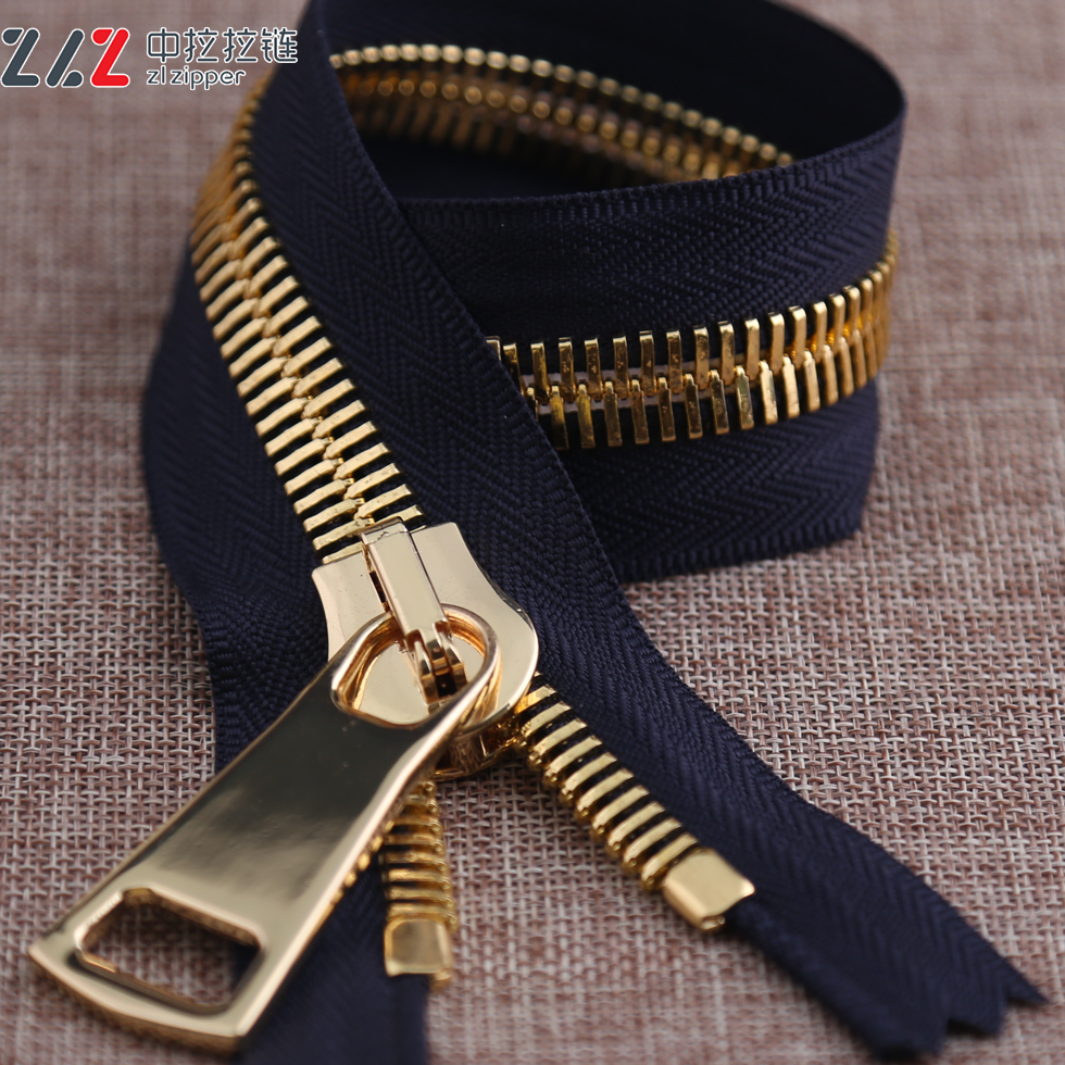 15# double point double polished gold close-end metal zipper for garment accessories