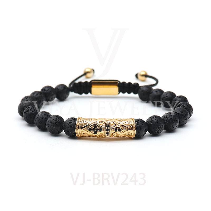 8 MM Fashion Black Onyx lava stone braided beads bracelet for wholesale