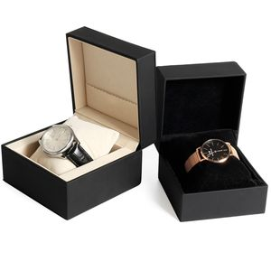 Fashionable Smart Gift Packaging Box Black PU Leather Watch Packaging Box Manufacturers