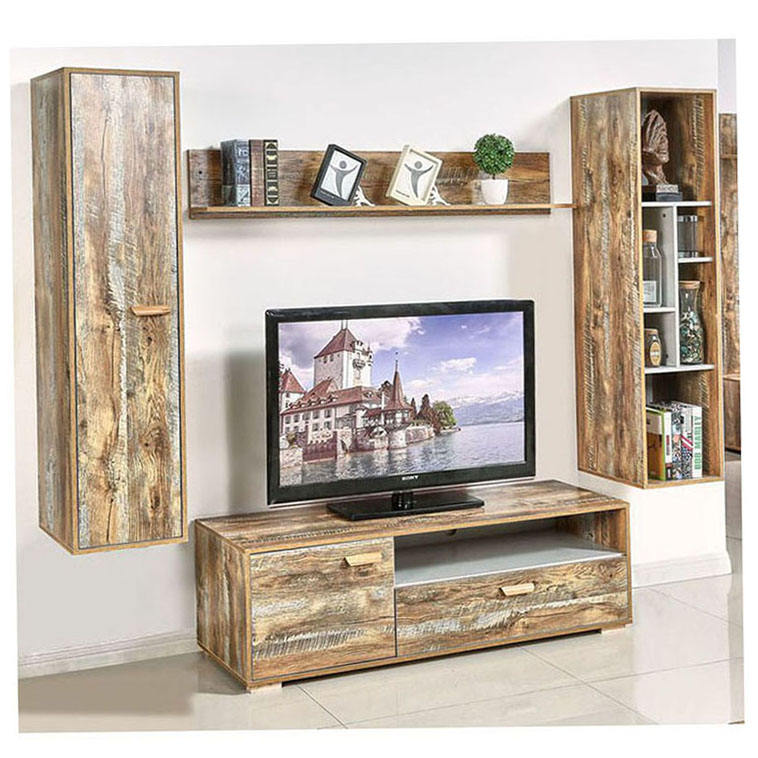 Living Room Tv Area Table Gray Color Mirrored Shelves Stands For Cheap Tables Wood High Stand 24M Modern Grey White Panel