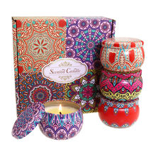 Home Decor Jar Candle Massage SPA Gift Set 100% Soy Wax candle Portable Travel Tin scented candle