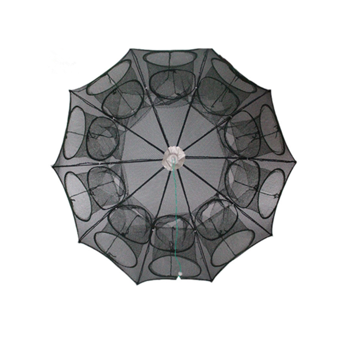 UT661 Durable Nylon Shrimp Crab Trap Cast Steel Wire Frame Umbrella Folded Portable Hexagon 6 Holes Big Entrance Fishing Traps